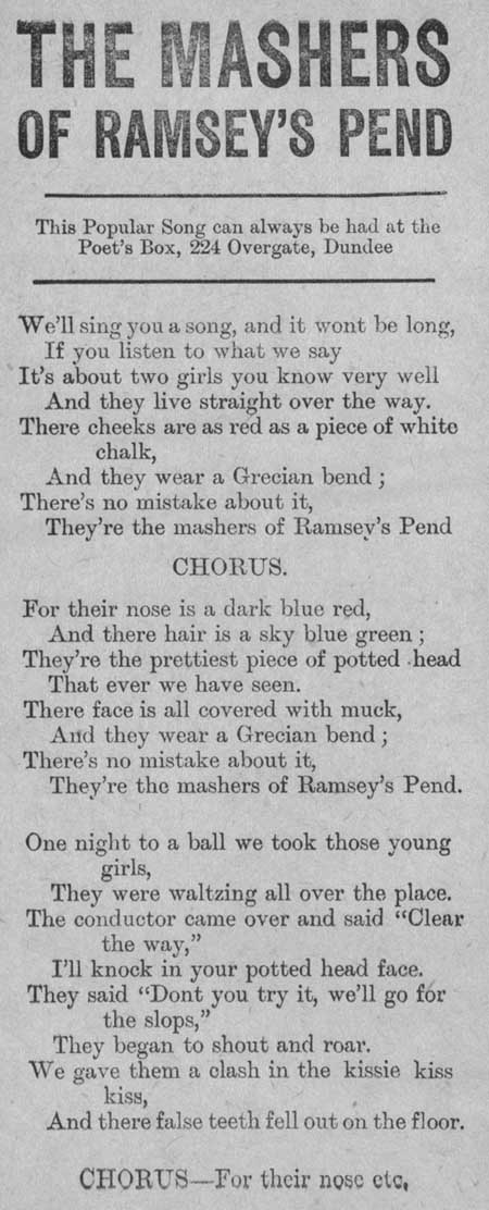 Broadside ballad entitled 'The Mashers of Ramsey's Pend'