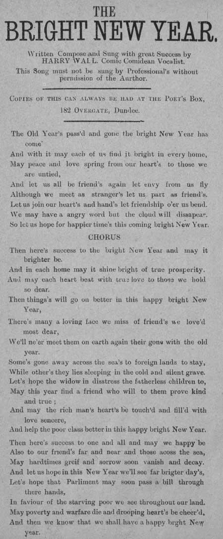 Broadside ballad entitled 'The bright New Year'