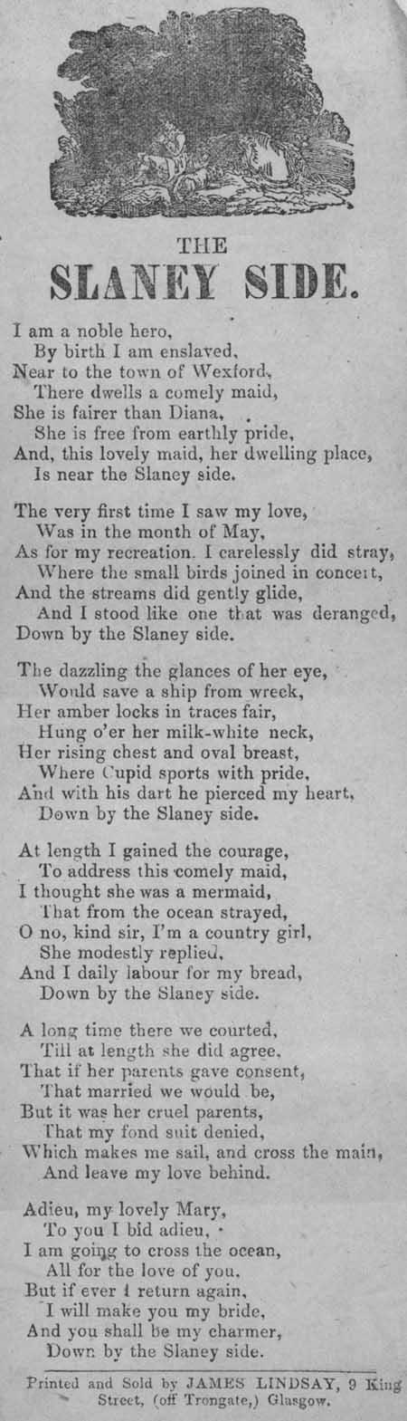 Broadside ballad entitled 'The Slaney Side'
