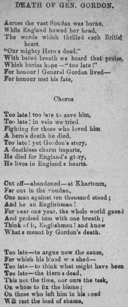 Broadside ballad entitled 'Death of Gen. Gordon'