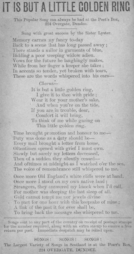 Broadside ballad entitled 'It is but a Little Golden Ring'