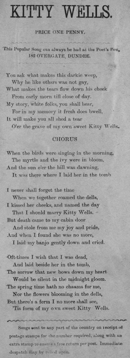Broadside ballad entitled 'Kitty Wells'
