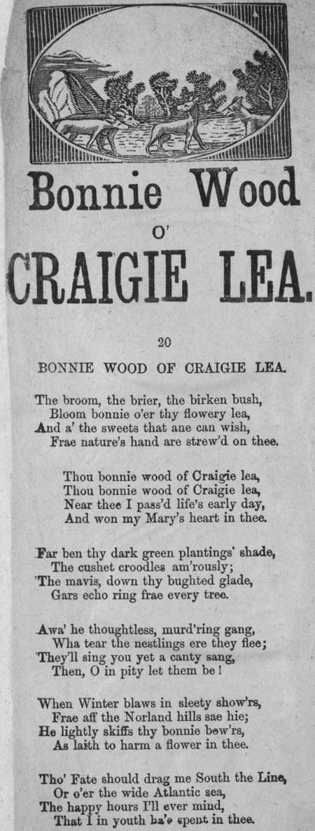Broadside ballad entitled 'Bonnie Wood o' Craigie Lea'