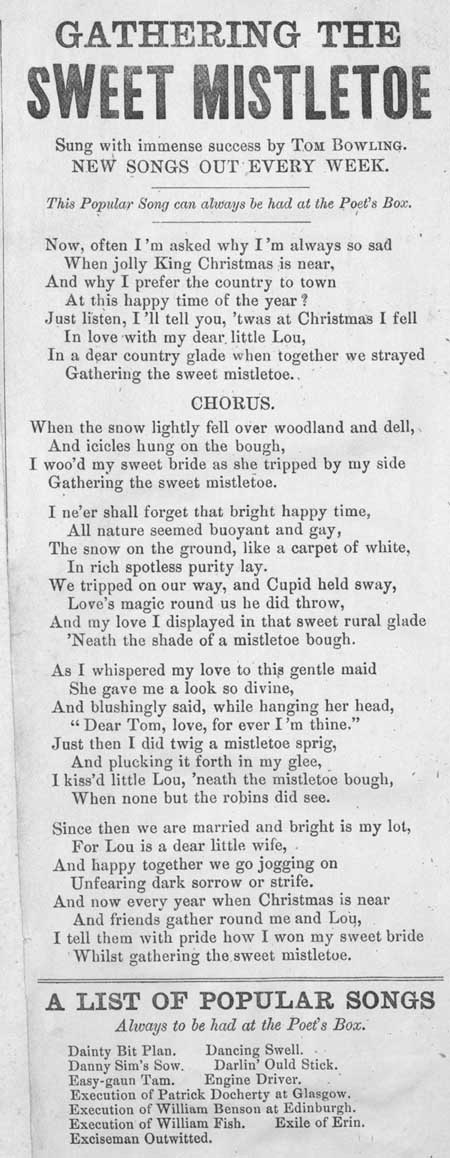 Broadside ballad entitled 'Gathering the Sweet Mistletoe'