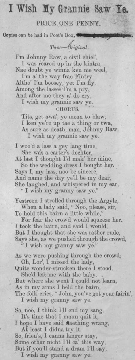 Broadside ballad entitled 'I Wish My Grannie Saw Ye'
