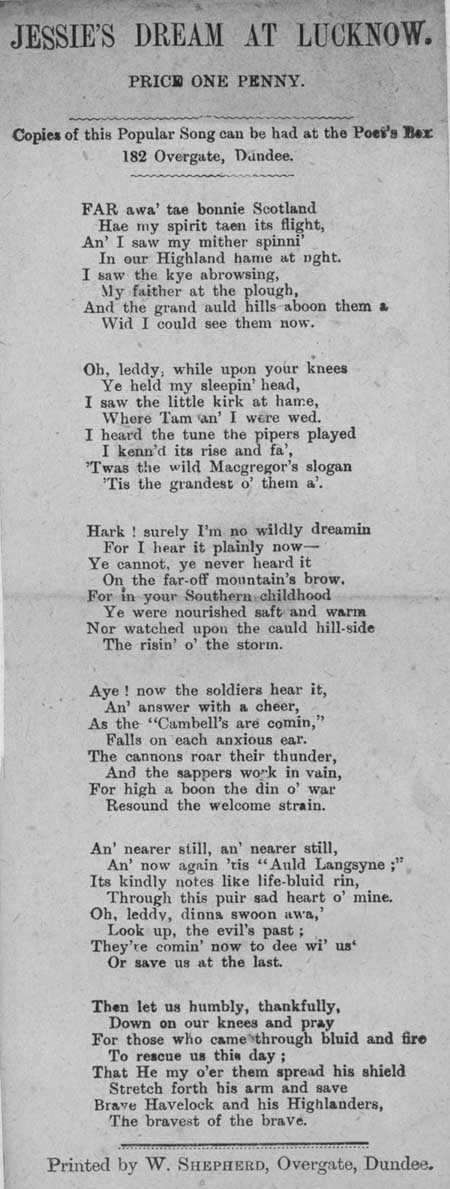 Broadside ballad entitled 'Jessie's Dream at Lucknow'