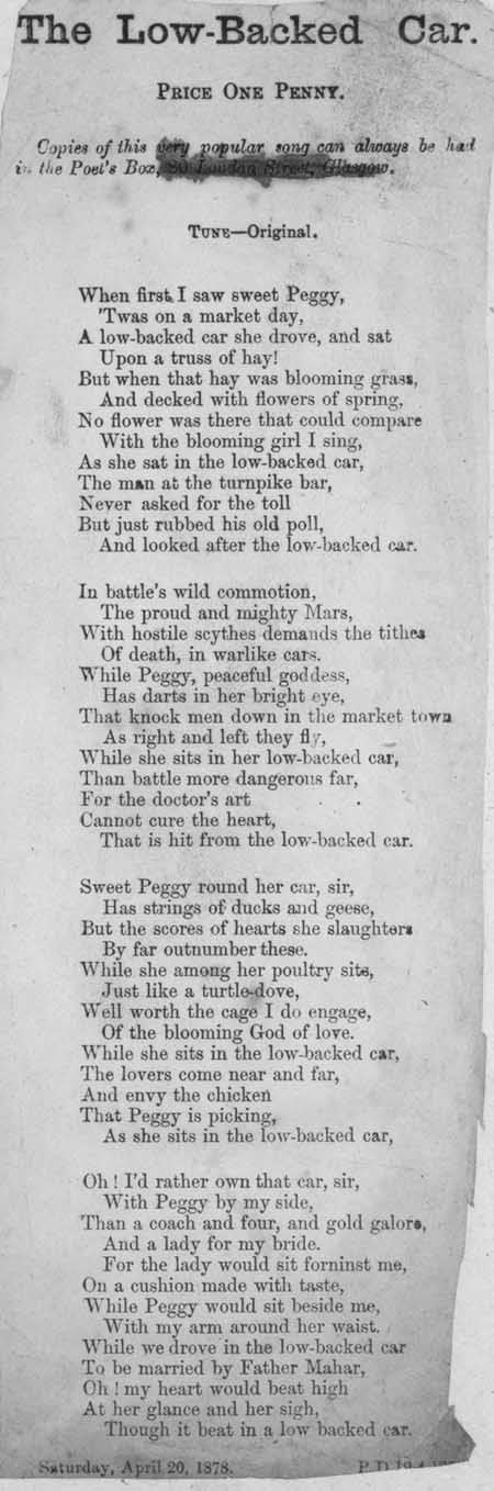 Broadside ballad entitled 'The Low-Backed Car'