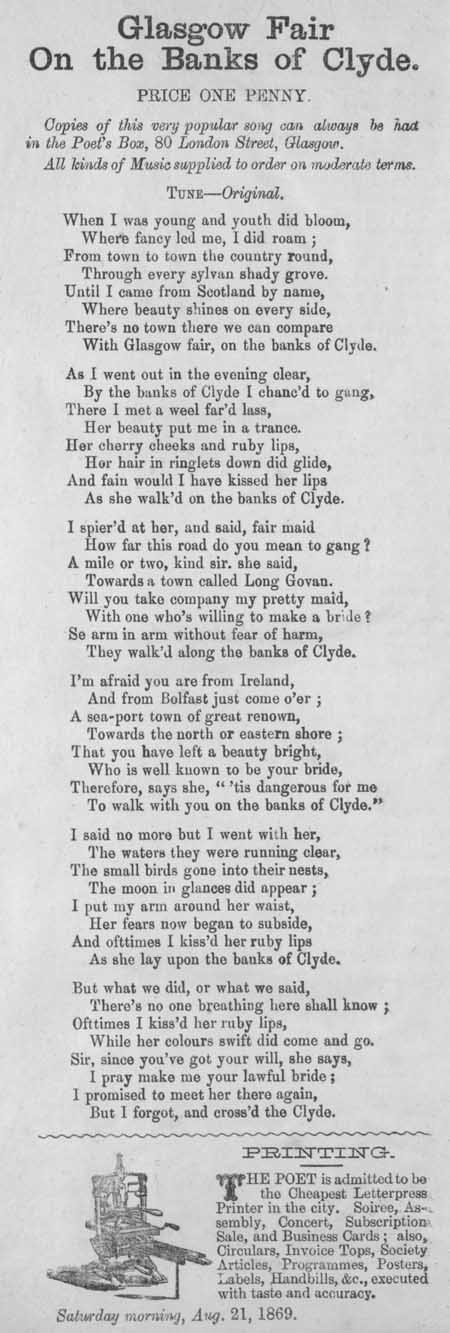 Broadside ballad entitled 'Glasgow Fair on the Banks of Clyde'