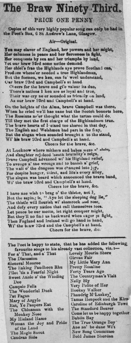 Broadside ballad entitled 'The Brave Ninety-Third'