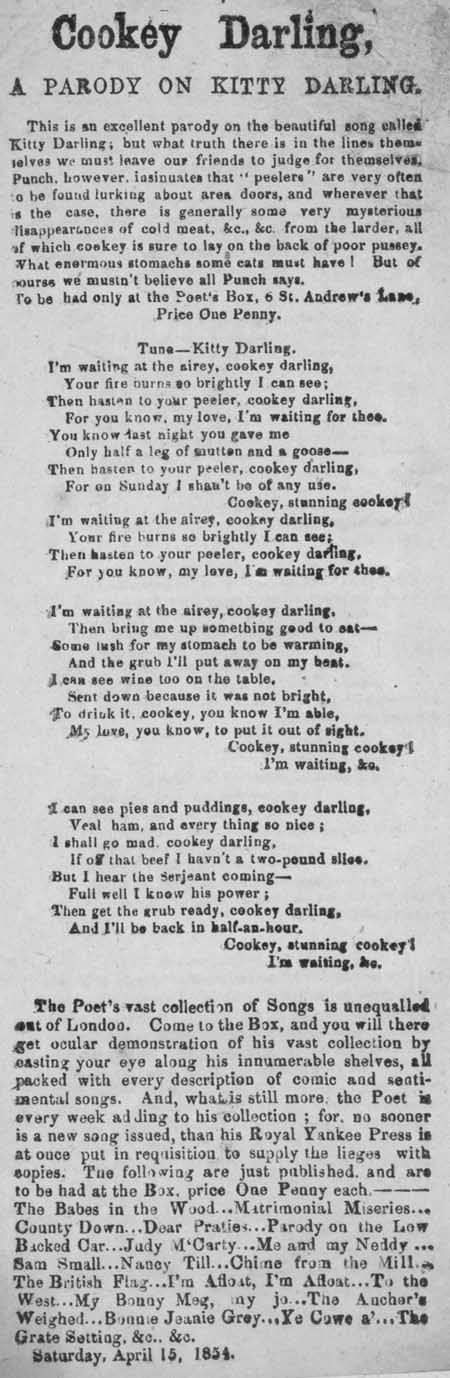 Broadside ballad entitled 'Cookey Darling, a Parody on Kitty Darling'