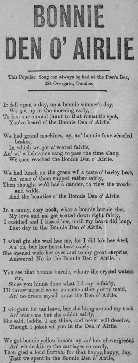 Broadside ballad entitled 'Bonnie Den o' Airlie'