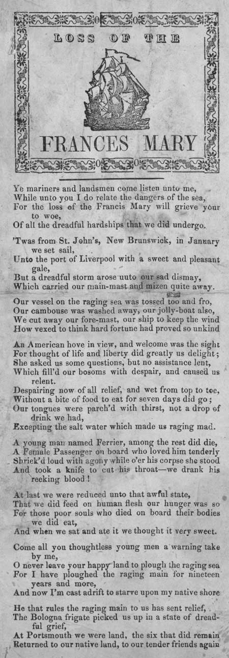 Broadside ballad entitled 'Loss of the Frances Mary'
