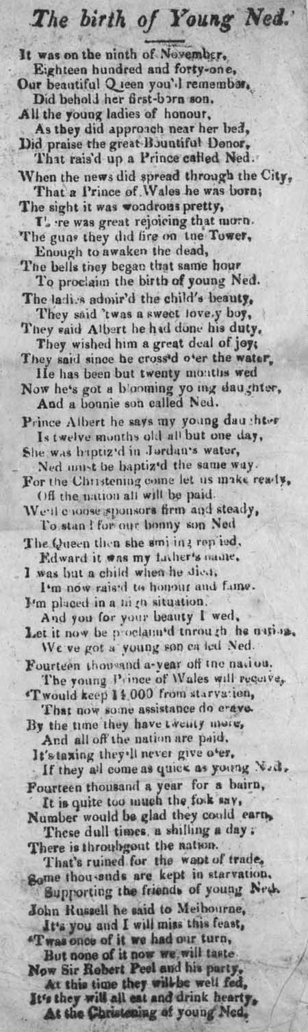 Broadside ballad entitled 'The Birth of Young Ned'