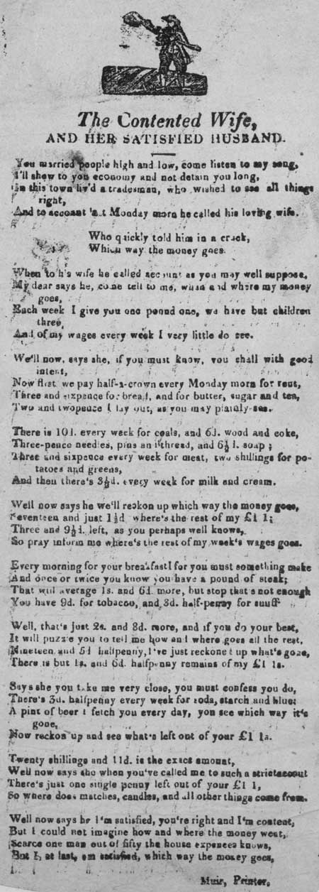 Broadside ballad entitled 'The Contented Wife and her Satisfied Husband'