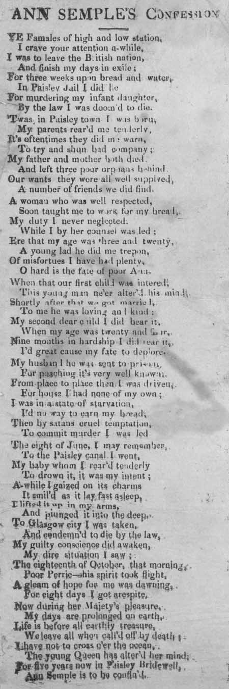 Broadside entitled 'Ann Semple's Confession'