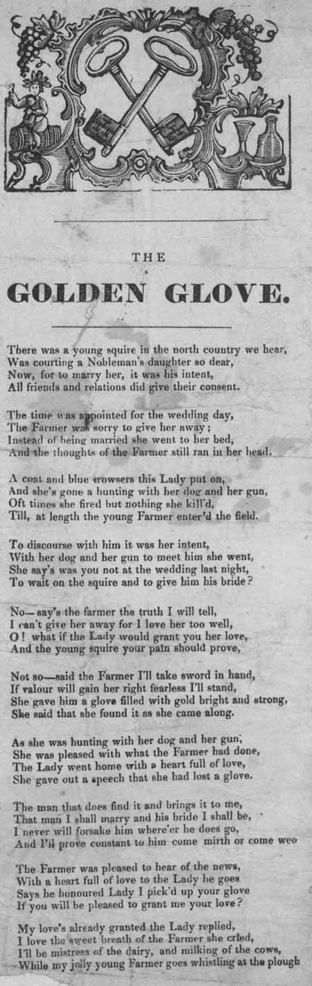Broadside ballad entitled 'The Golden Glove'