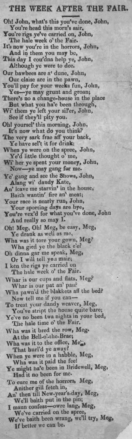 Broadside ballad entitled 'The Week After the Fair'