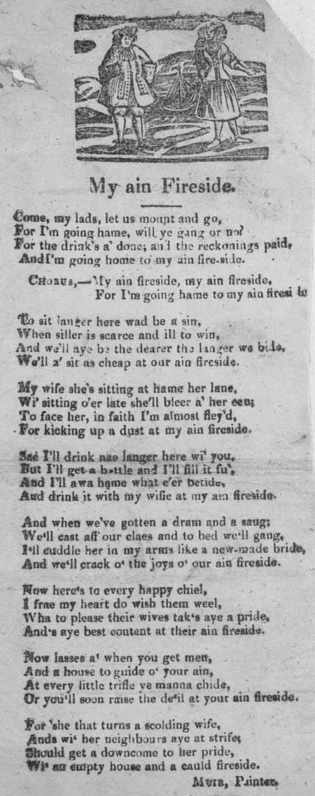 Broadside ballad entitled 'My Ain Fireside'