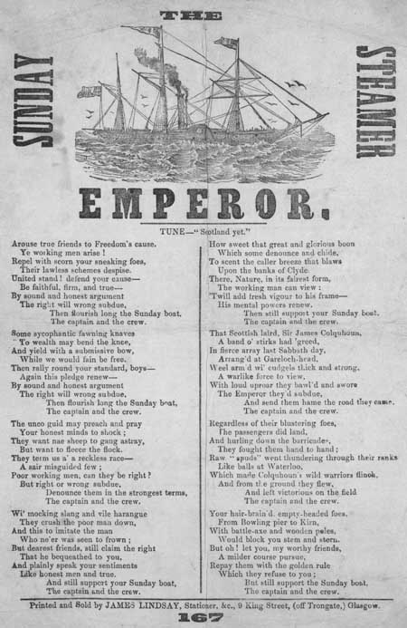 Broadside ballad entitled ' The Sunday Steamer Emperor'