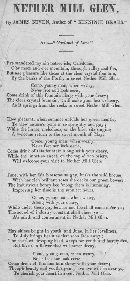Broadside ballad entitled 'Nether Mill Glen'