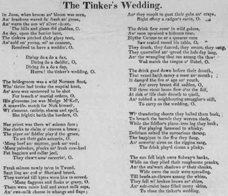 Broadside ballad entitled 'The Tinker's Wedding'