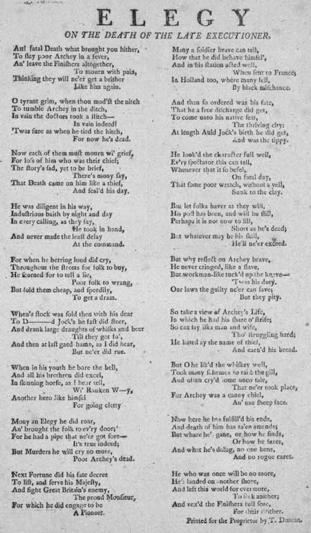 Broadside ballad entitled 'Elegy on the Death of the Late Executioner'