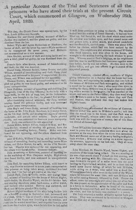 Broadside concerning the trials and sentences of prisoners in Glasgow, 1820