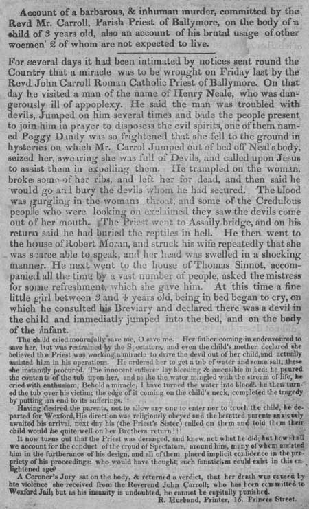 Broadside concerning a murder perpetrated by Revd Mr. Carroll, Parish Priest of Ballymore