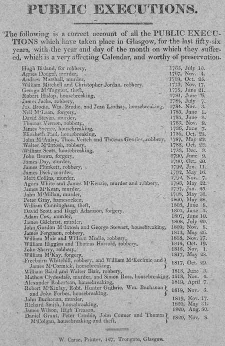 Broadside listing all the public executions that took place in Glasgow between 1765 and 1820