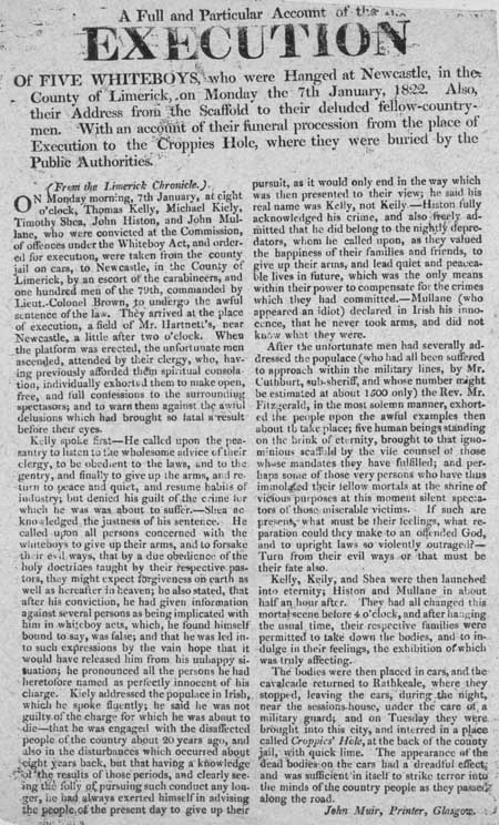 Broadside entitled 'A Full and Particular Account of the Execution'