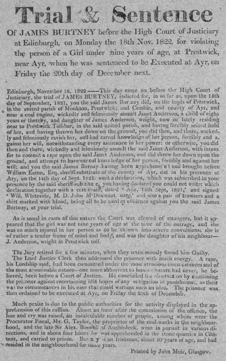 Broadside concerning the trial and sentence of James Burtney