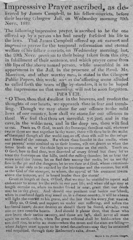 Broadside regarding a prayer delivered by James Campbell