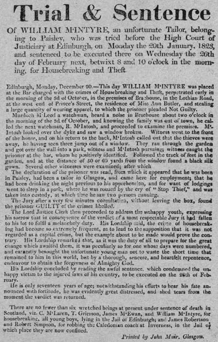 Broadside regarding the trial and sentence of William McIntyre
