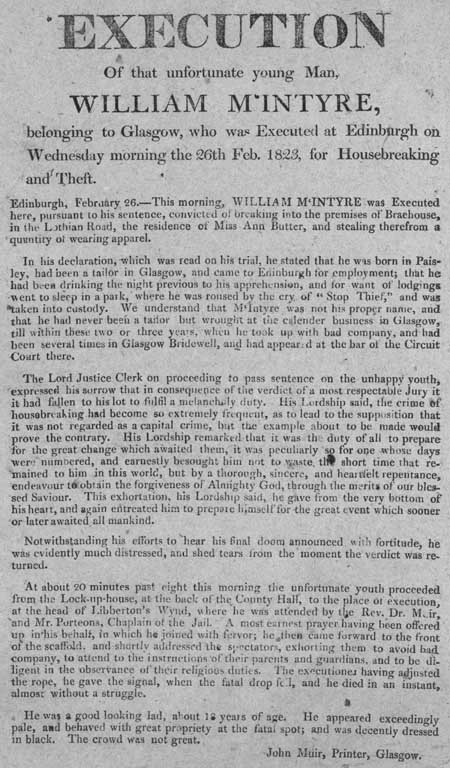 Broadside regarding the execution of William McIntyre