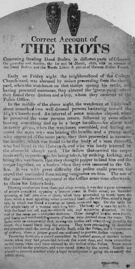 Broadside entitled 'Correct Account of the Riots Concerning Stealing Dead Bodies'