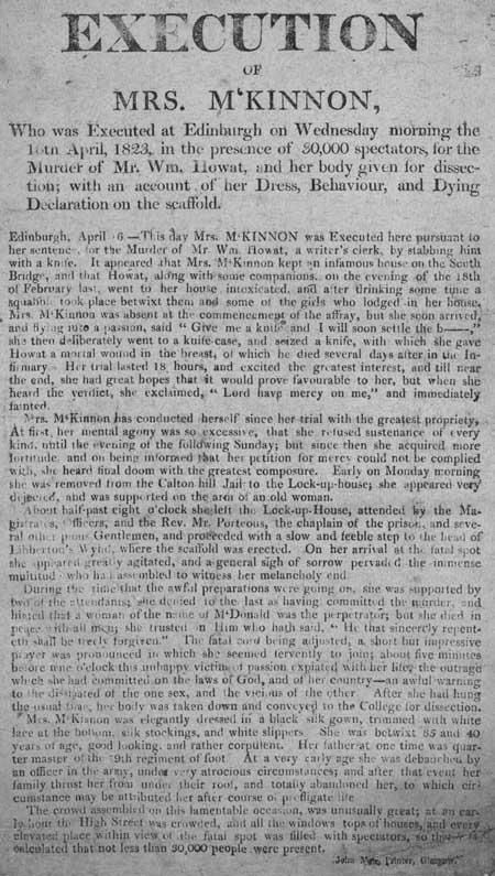 Broadside entitled 'Execution of Mrs M'Kinnon'