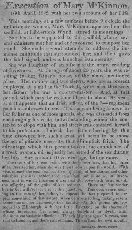 Broadside entitled 'Execution of Mary M'Kinnon'