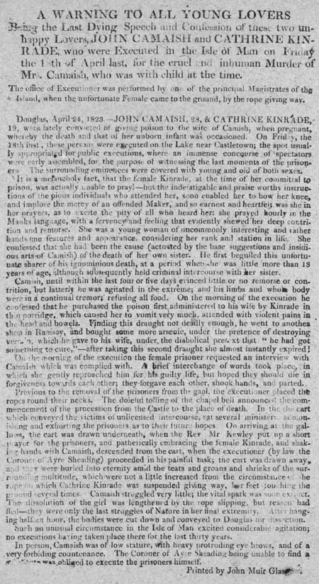 Broadside entitled 'A Warning to all Young Lovers'