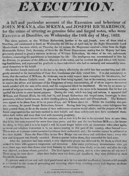 Broadside regarding the execution of John McKana and Joseph Richardson