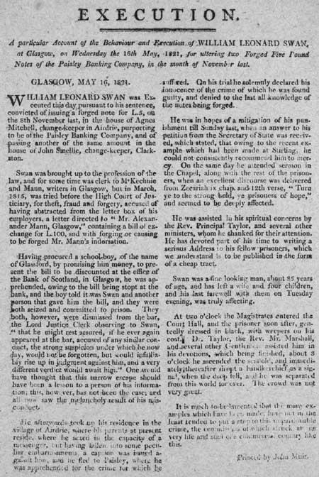 Broadside entitled 'Execution of William Leonard Swan'