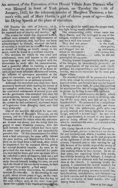 Broadside concerning the Execution of John Thomas