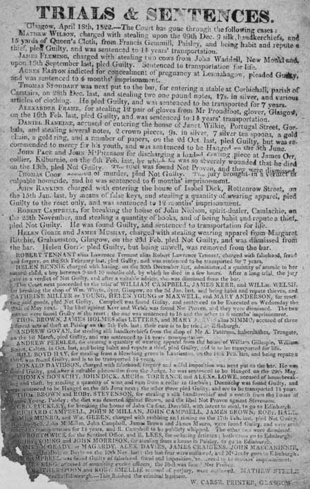Broadside entitled 'Trials and Sentences'