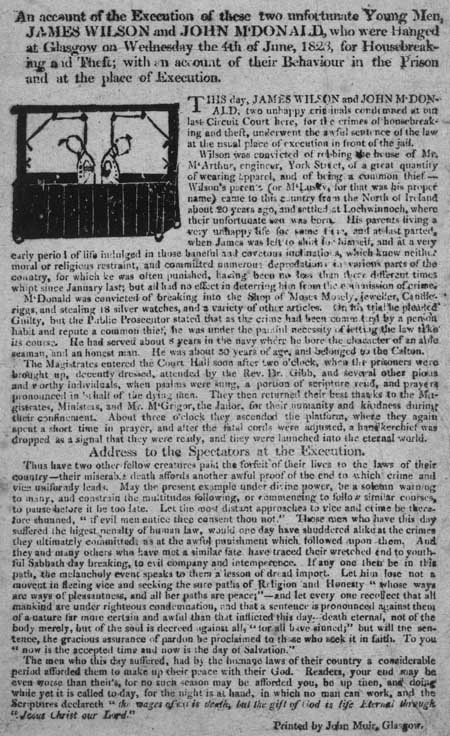 Broadside concerning the execution of James Wilson and John McDonald