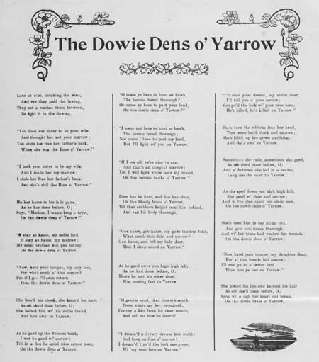 Broadside ballad entitled 'The Dowie Dens o' Yarrow'
