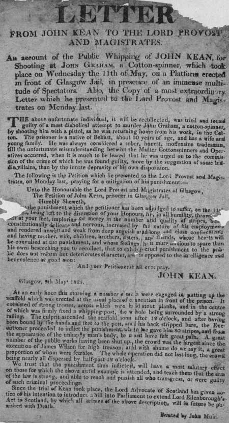 Broadside entitled 'Letter from John Kean to the Lord Provost and Magistrates'