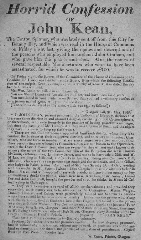 Broadside entitled 'Horrid Confession of John Kean'