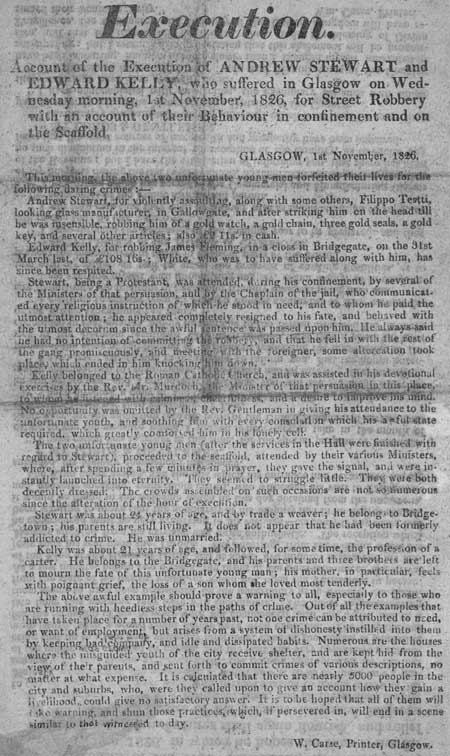 Broadside concerning the execution of Andrew Stewart and Edward Kelly