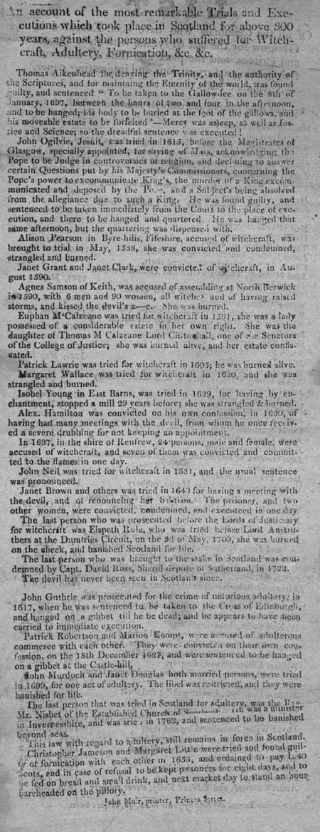 Broadside account concerning trials and executions for 'Witchcraft, Adultery, Fornication, &c. &c.'