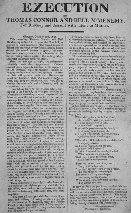 Broadside entitled 'Execution of Thomas Connor and Bell McMenemy'