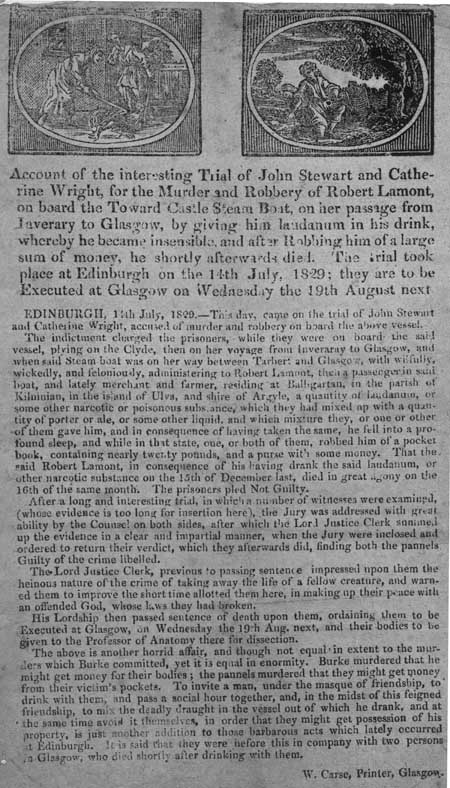 Broadside concerning the trial of John Stewart and Catherine Wright for murder